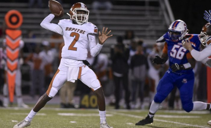 Prep's Rayshawn Phillips II (2) looks to throw downfield in the football game between Capital Prep and Danbury high schools, Friday night, September 28, 2019, at Danbury High School, in Danbury, Conn.